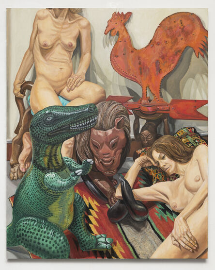 Philip Pearlstein, 'Two Models, Rooster Weathervane, Luna Park Lion and Blow-Up Dinosaur', 2017