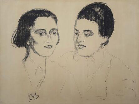 Edvard Munch, 'Louise and Else Heyerdahl', 1920