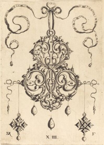 Daniel Mignot, 'Strapwork Pendant with Three Drops and Two Cross-Shaped Pendants as Earrings at Left and Right'