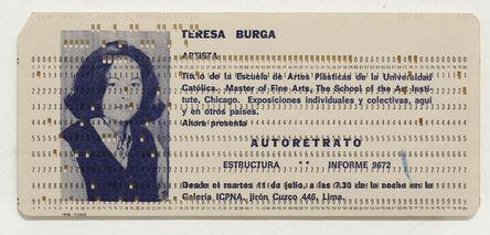 Teresa Burga, 'Autorretrato (Einladungskarte)', 1972