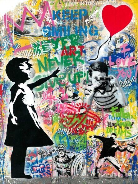 Mr. Brainwash, 'Balloon Girl - Banksy Record - Unique Mixed Media Stencil', 2021