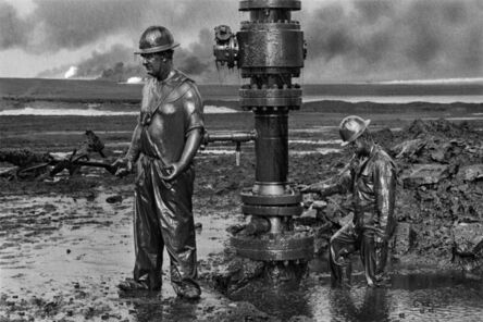 """Sebastião Salgado, 'Workers install a new wellhead to enable the injection of a chemical mud to """"kill the old well."""" Greater Burhan, Kuwait.', 1991"""