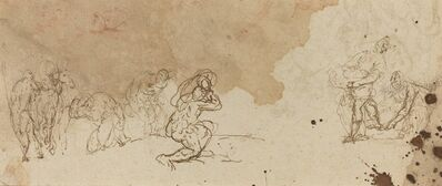 Attributed to Donato Creti, 'Studies of Figures for an Adoration of the Magi [verso]'
