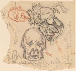 Elihu Vedder, 'Self-Portrait: Caricatures', ca. 1918