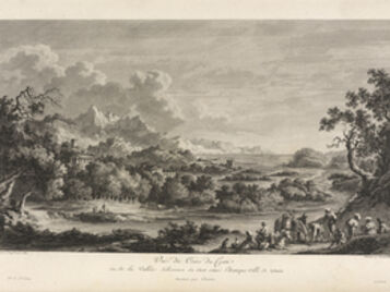 Jean Claude Richard de Saint-Non (author), 'Vu‰ du Cours du Crati en de la Vall'e d'licieuse •u 'toit situ'e l'Antique Ville de Sybaris', 1781