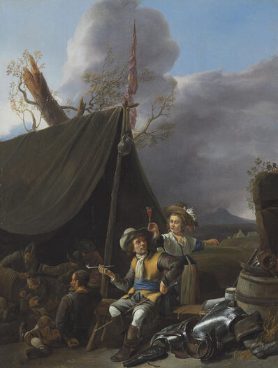 Johannes Lingelbach, 'Soldiers resting at camp'