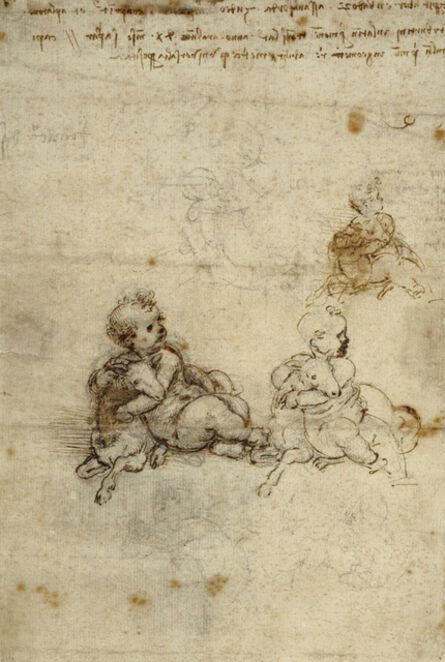 Leonardo da Vinci, 'Studies for the Christ Child with a Lamb (recto), Head of an Old Man, and Studies of Machinery (verso)', 1503-1506