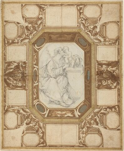 Giovanni Guerra and Domenico Maria Viani, 'Ceiling with Allegorical Figures and the Arms of Pope Sixtus V (Guerra's outer drawing); Saint Joseph and the Christ Child (Viani's central drawing)', outer drawing c. 1587; central drawing after 1690; attachments c. 1700-1725