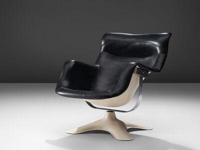 Yrjo Kukkapuro for Haimi, ''Karuselli' Lounge Chair in Black Leather Upholstery', 1960s