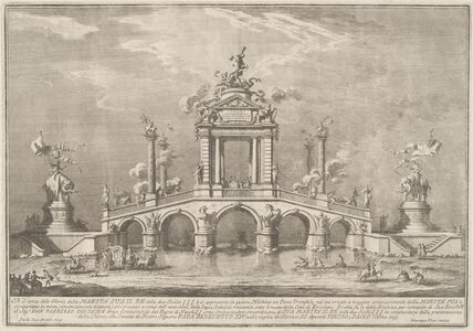 Giuseppe Vasi after Paolo Posi (architect), 'A Triumphal Bridge Adorned with Relics of the City of Ercolano', 1755