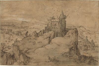 Matthys Cock, 'Landscape with Castle above a Harbor', 1540