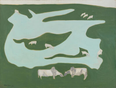 Milton Avery, 'Grazing Brahmins', 1952