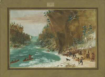 George Catlin, 'The Expedition Encamped below the Falls of Niagara.  January 20, 1679', 1847/1848