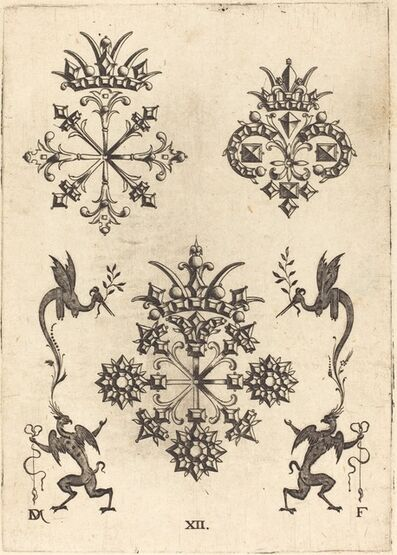 Daniel Mignot, 'Three Brooches with Winged Snakes at Left  and Right and Winged Griffins at Bottom', 1596