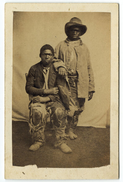 """McPherson and Oliver, 'Two African American Young Men in Tattered Clothing (""""Contrabands, general style of dress"""")', ca. 1861"""