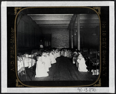 Jacob A. Riis, 'Prayer-time in the Nursery - Five Points House of Industry', ca. 1890