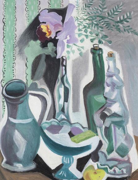 Gino Severini, 'Natura morta con bottiglie e vaso di orchidee', 1942-1943