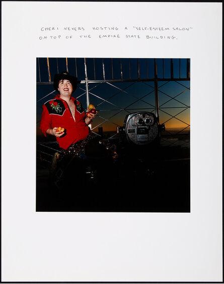 "Chris Verene, 'Cheri Nevers Hosting a ""Self-Esteem Salon"" on Top of the Empire State Building', 1998"
