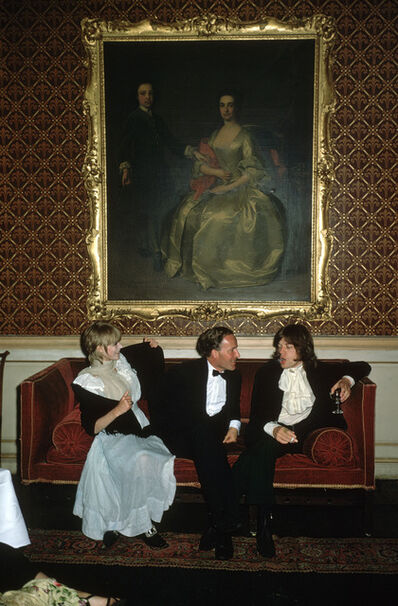 Slim Aarons, 'Pop and Society: Marianne Faithfull, Desmond Guinness, and Mick Jagger at Leixlip Castle, Ireland', 1968