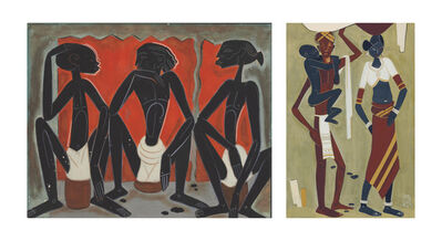 Shiavax Chavda, 'Untitled (Three Tribal Men); Toddy Booth'
