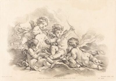 Gilles Demarteau, the Elder after François Boucher, 'Four Cherubs at Target Practice'