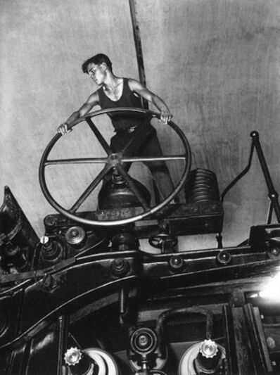Arkady Shaikhet, 'Komsomol member at the wheel of papermaking machine', 1929