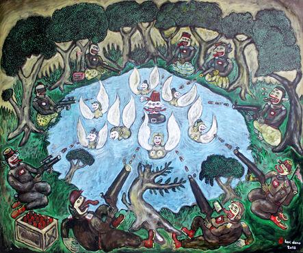 Heri Dono, 'Joko Tarub Bathe in the Lake, Attacked by Terrorists, Protected by 7 Bidadari', 2016