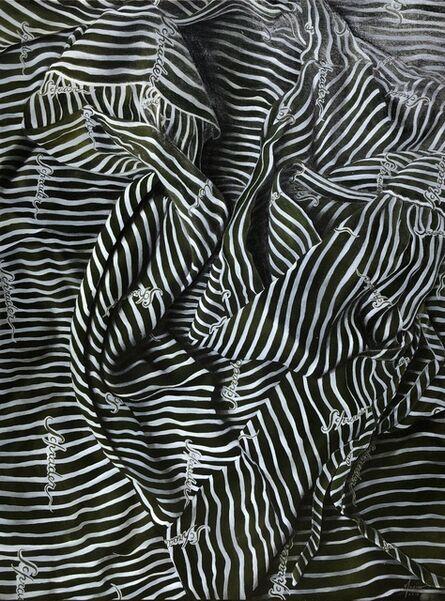 Marina Cruz, 'Swirly White Stripes on a Dark Olive Garment', 2018