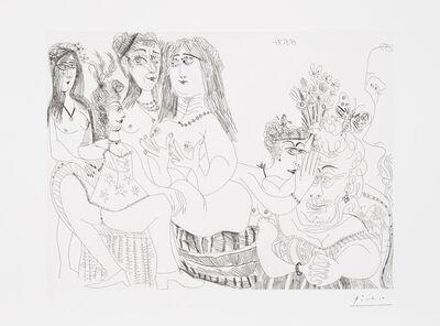 Pablo Picasso, 'La Fête de la Patronne, ces Dames médisent de Degas, réduit à un Tiers de Profil (The Feast of the Patron Saint, these Ladies slander Degas, reduced to a Third Party in Profile), plate 127 from Séries 156 (Bl. 1982, Ba. 1992)', 1971