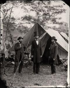 Alexander Gardner, 'Antietam, Md. Allan Pinkerton, President Lincoln, and Maj. Gen. John A. McClernand. ', 1865