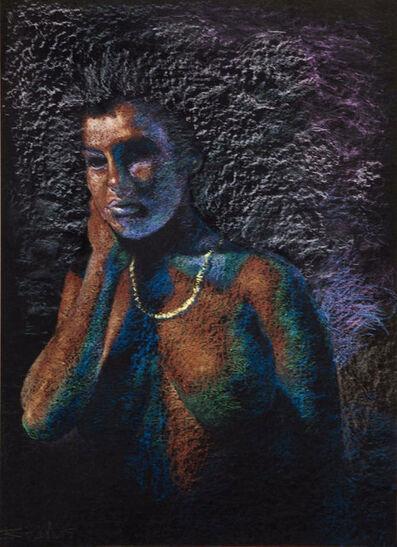 Bikash Bhattacharjee, 'Intrigued Woman, Medium Pastel in Purple , Black, Voilet, Brown colours by Padma Shri Awardee Indian Cerebral Artist Bikash Bhattacharjee', 1995