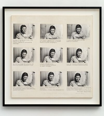 Gina Pane, 'Lecture d'un examen medical de Mme R.S. [Reading of Mrs R.S.'s medical test]', 1972