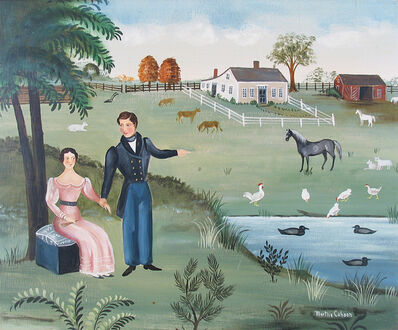 Martha Cahoon, 'Couple by Farmyard', ca. 1965