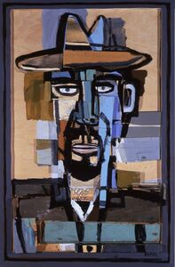David Bates (b. 1952), 'Self Portrait with Hat', 1998-1999