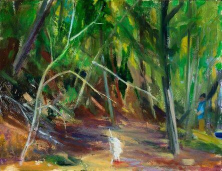 Donald Beal, 'Woods: White Dog, Blue Man', ca. 2013
