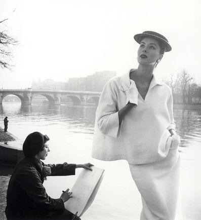 Louise Dahl-Wolfe, 'Suzy Parker in Balenciaga along the Seine, Paris', 1953