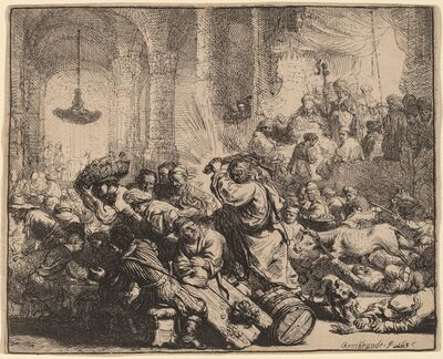 Rembrandt van Rijn, 'Christ Driving the Money Changers from the Temple', 1635