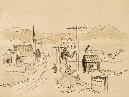 Thomas Hart Benton, 'Western Town with Road to Mountain', ca. 1950