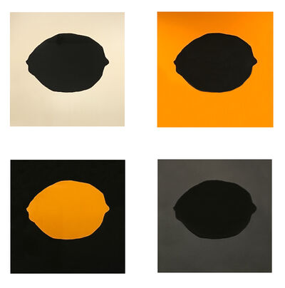 Donald Sultan, 'Four Lemons (Yellow Lemon on Black; Black Lemon on Yellow; Black Lemon on White; Black Lemon on Silver)', 2018