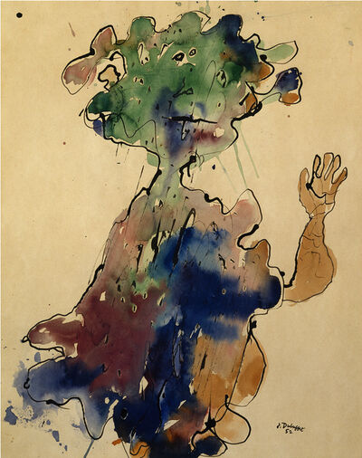 Jean Dubuffet, 'Personnage au chapeau, seins bas superposes (Figure with a Hat, Superimposed Low Breasts)', ca. 1952