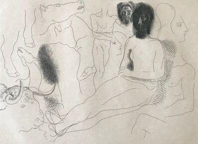 Pablo Picasso, 'Nu assis entouré d'esquisses de bêtes et d'hommes, pl. 10, from Le Chef-d Œuvre Inconnu', 1927
