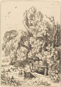 William Havell, 'Landscape with Trees, Girl Crossing Footbridge', 1804