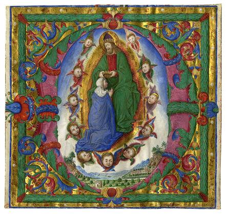 Bartolomeo Caporali, 'Coronation of the Virgin in an initial 'D'', c. 1485-1490