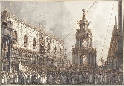 """Canaletto, 'The """"Giovedì Grasso"""" Festival before the Ducal Palace in Venice', 1763/1766"""