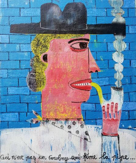 Joachim Lambrechts, ''Blue brick wall' (Ceci n'est pas un cow-boy qui fume la pipe)', 2020