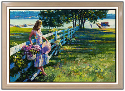 Howard Behrens, 'Howard Behrens Oil Painting on Canvas Large Original Floral Landscape Signed Art', 20th Century
