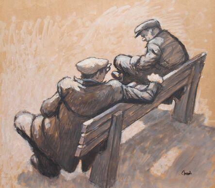 Norman Cornish, 'Two men talking on bench', ca. 1963