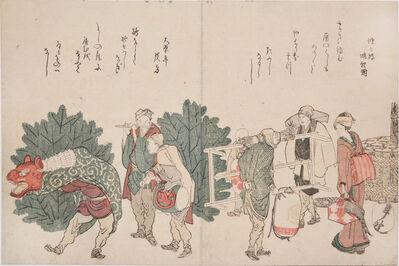 Katsushika Hokusai, 'Shishi Dancers on New Year's Day', 1804