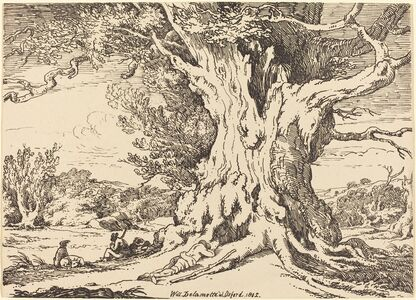William Alfred Delamotte, 'Resting, Men and Dogs under a Big Tree', 1802