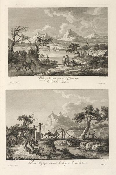 Jean Claude Richard de Saint-Non (author), 'Vu‰ d'un Pont Rustique sur le fleuve Sybaris ; Passage du Crati, principal fleuve de la Calabre citerieure', 1781